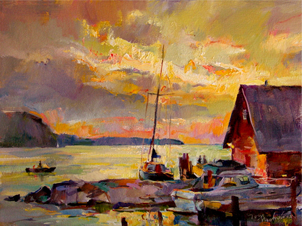 Andersons Dock Sunset, Painting by Tom Nachreiner