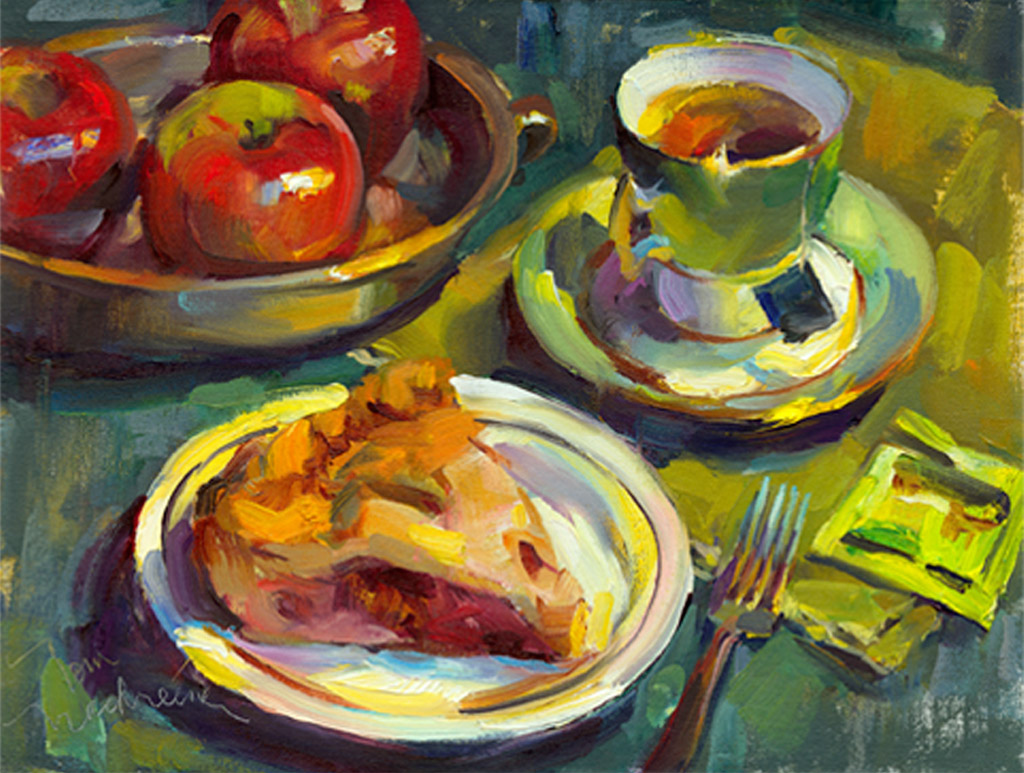 Apple Pie & Tea, Painting by Tom Nachreiner