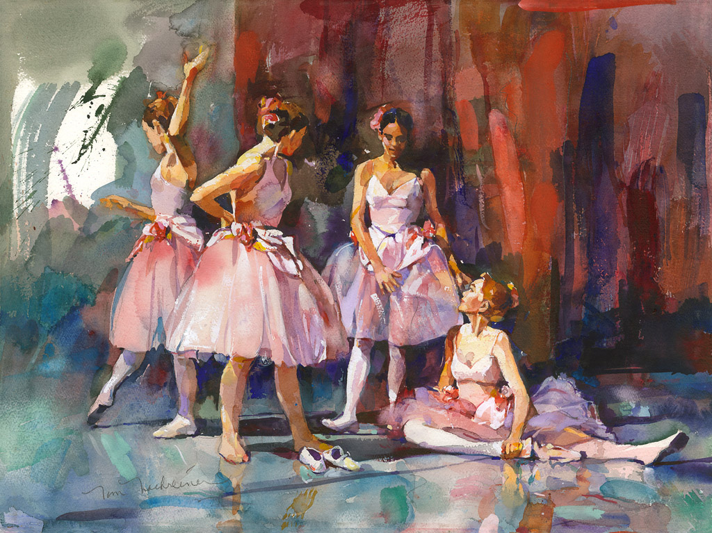 Ballet Dancers, Painting by Tom Nachreiner