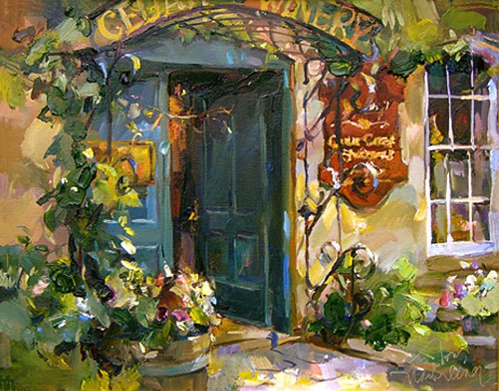 Behind the Blue Door, Painting by Tom Nachreiner