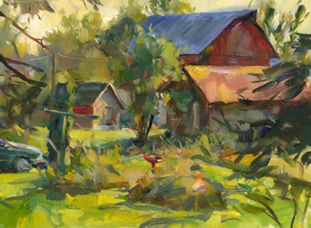 Blue Roof Barn, Painting by Tom Nachreiner