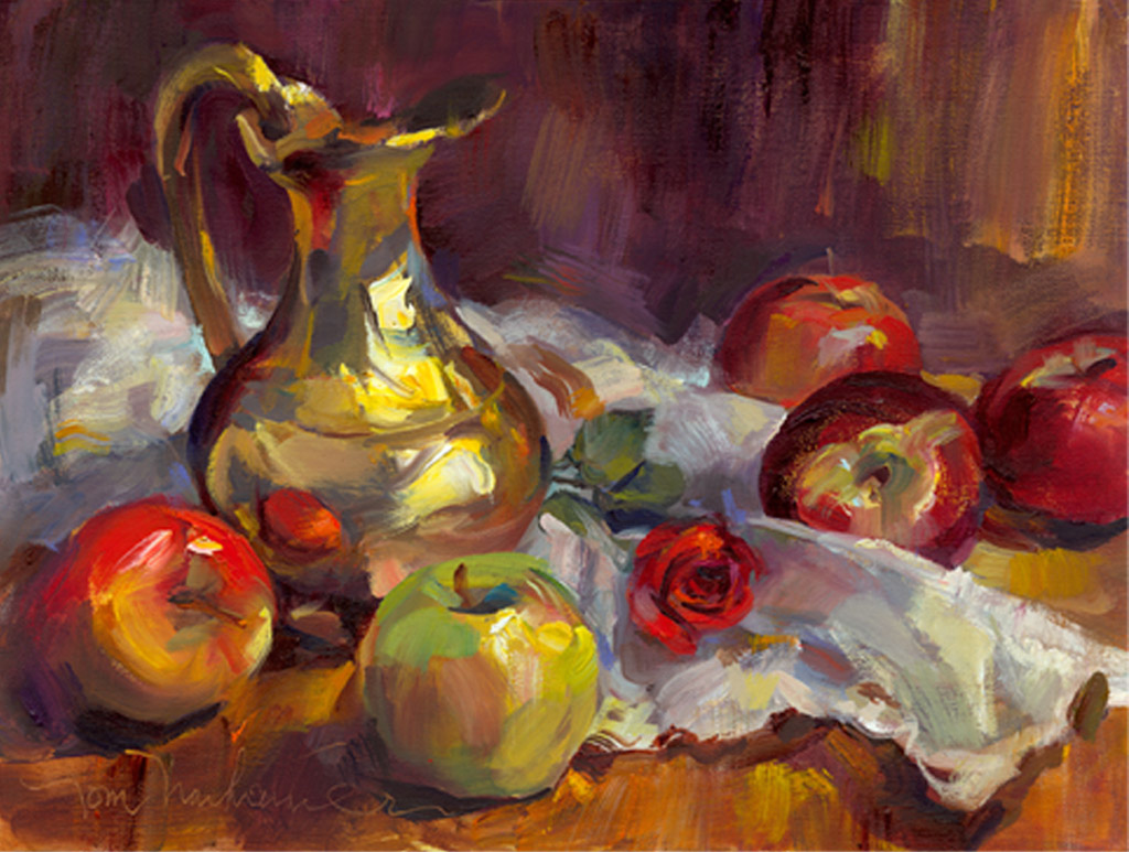 Five Red Apples, Painting by Tom Nachreiner