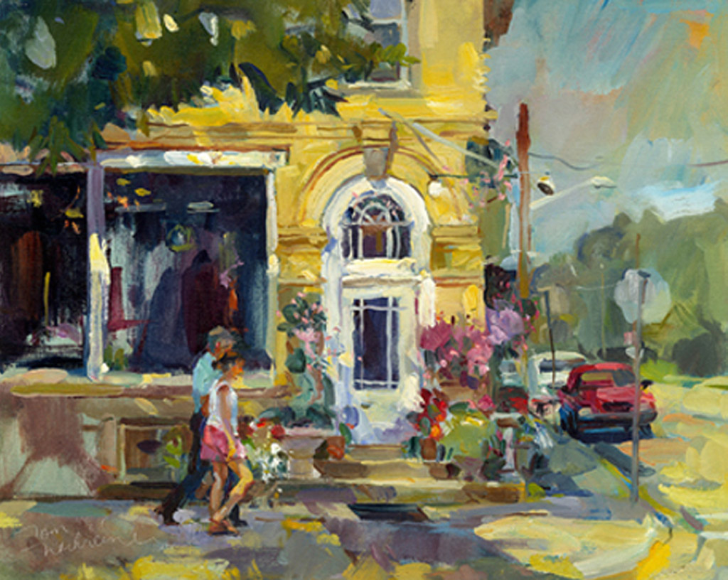 Flower Shop Doorway, Painting by Tom Nachreiner