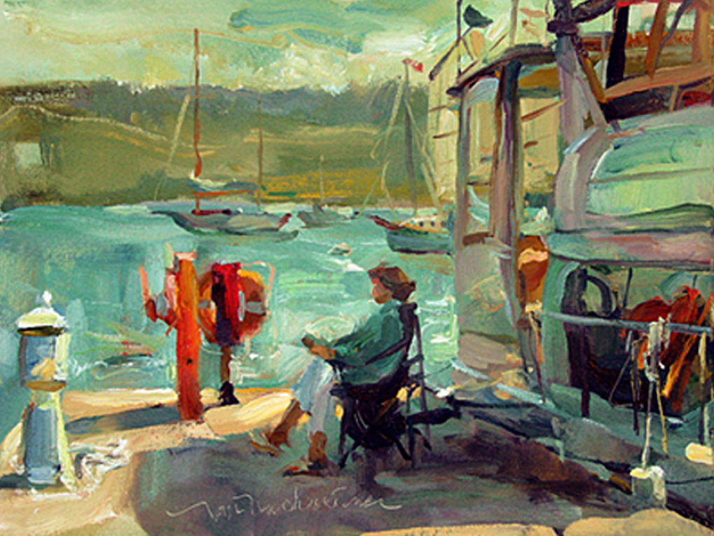 Lady At The End Of The Pier, Painting by Tom Nachreiner