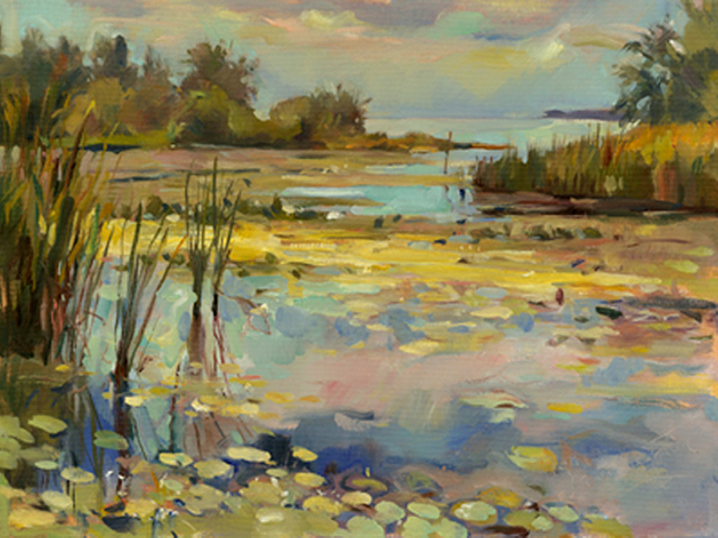 Lake Lily Pads, Painting by Tom Nachreiner