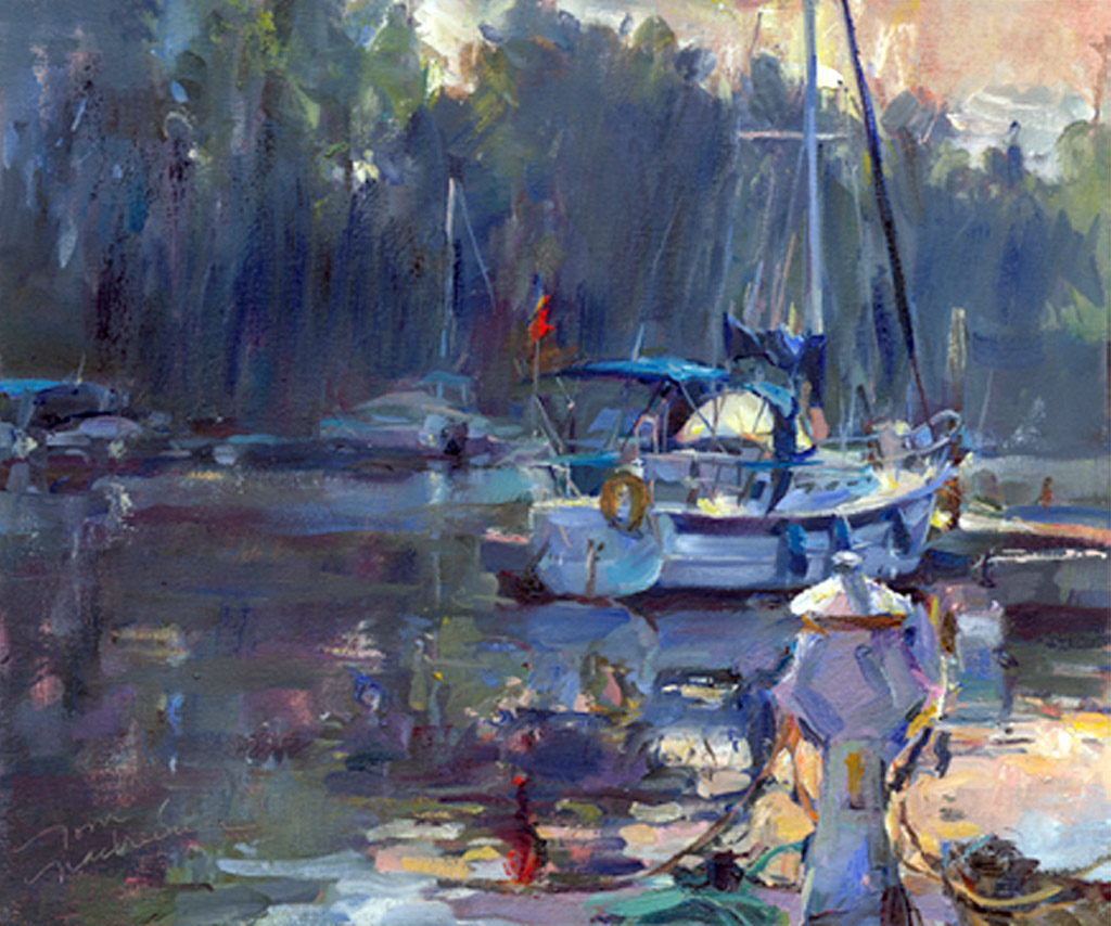 Misty Harbor, Painting by Tom Nachreiner