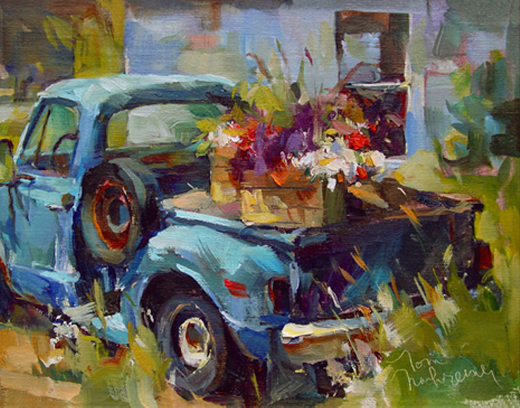 Pick-Up & Flowers, Painting by Tom Nachreiner