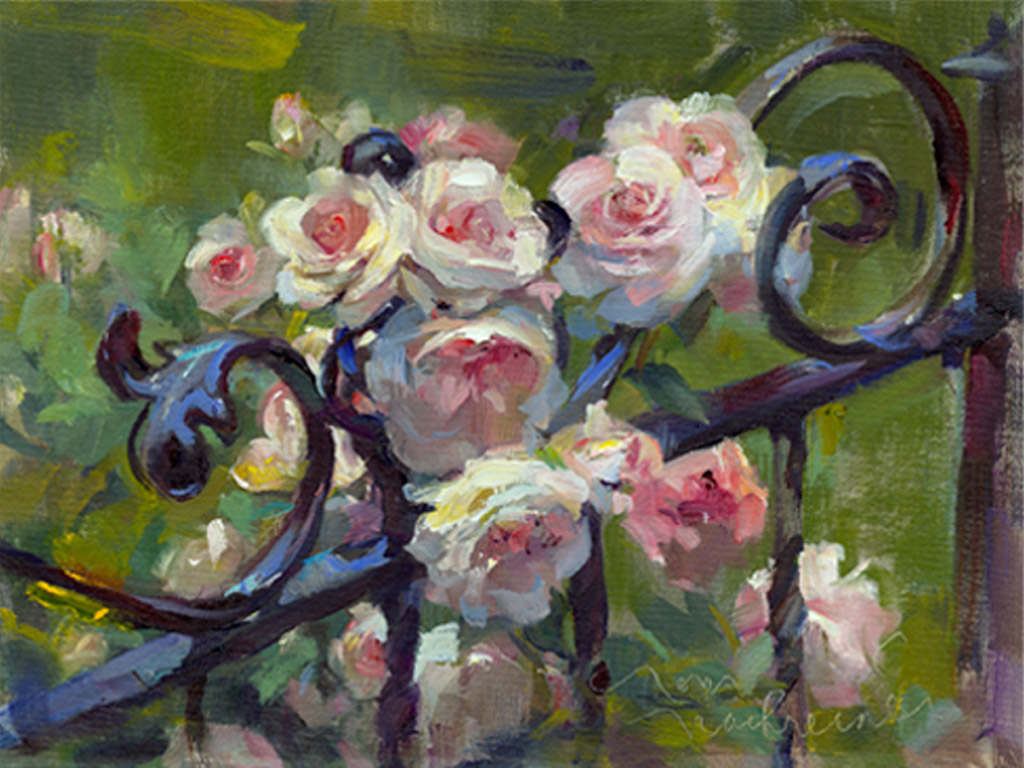 Pink Roses & Wrought Iron, Painting by Tom Nachreiner