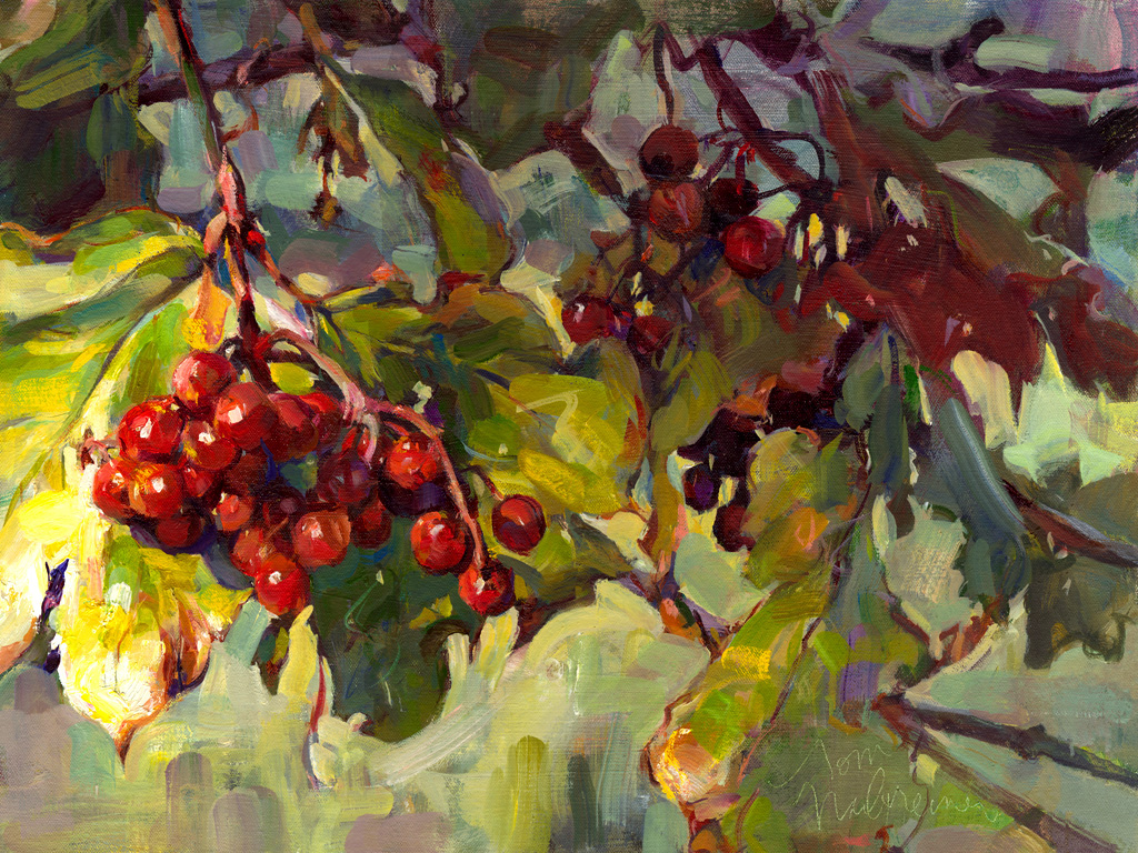 Red Berries, Painting by Tom Nachreiner