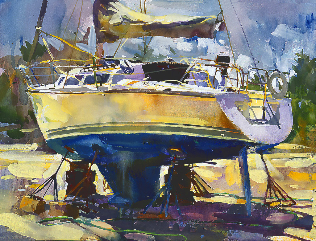 Sailboat In Dry Dock, Painting by Tom Nachreiner