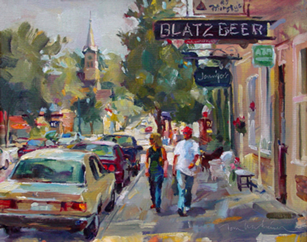 Shopping Church & Beer, Painting by Tom Nachreiner