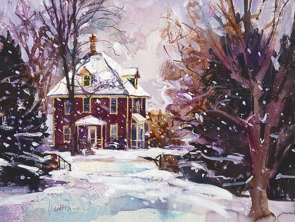 Snowy Farm House, Painting by Tom Nachreiner