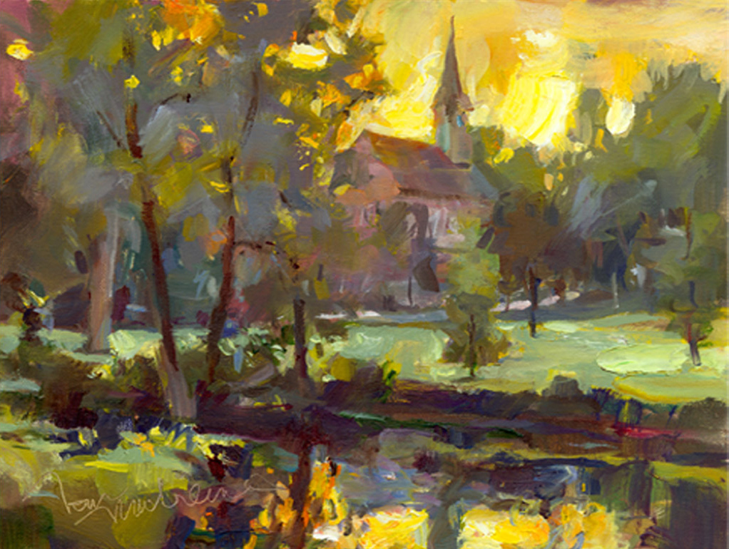 Steeple Reflection, Painting by Tom Nachreiner