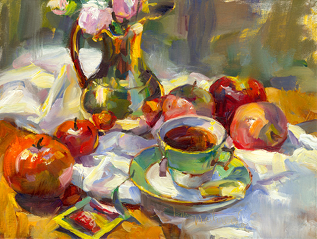 Summer Still Life w Apples, Painting by Tom Nachreiner