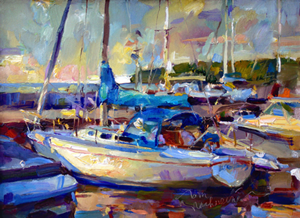 Sunset Harbor, Painting by Tom Nachreiner