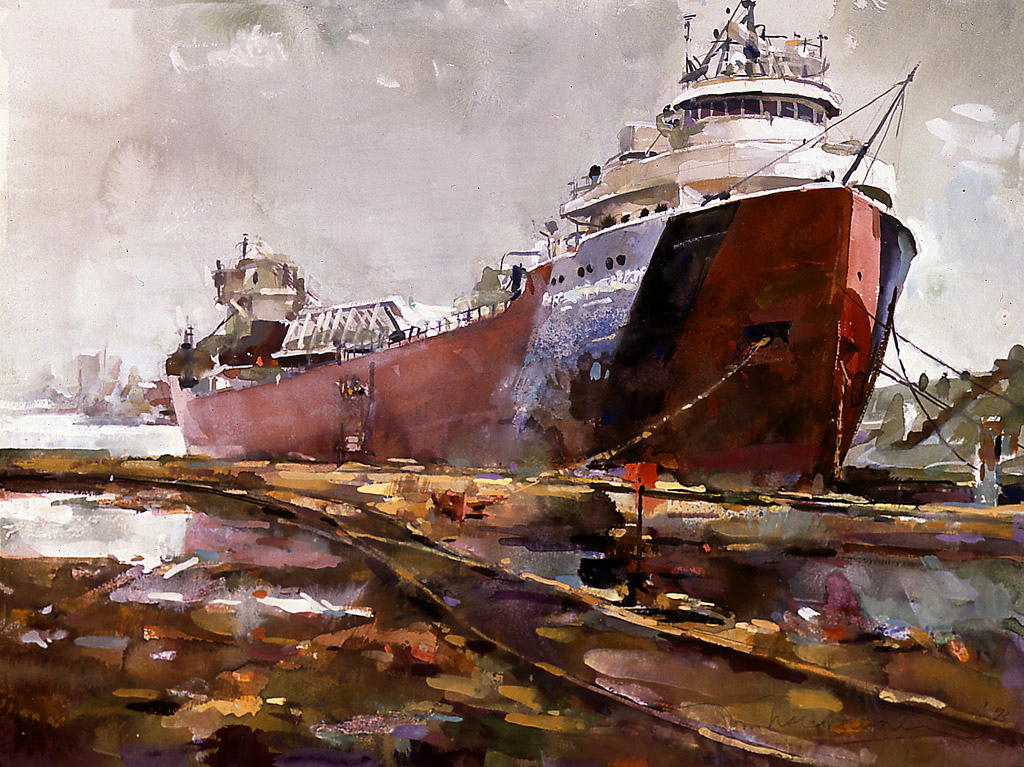 Tanker, Painting by Tom Nachreiner
