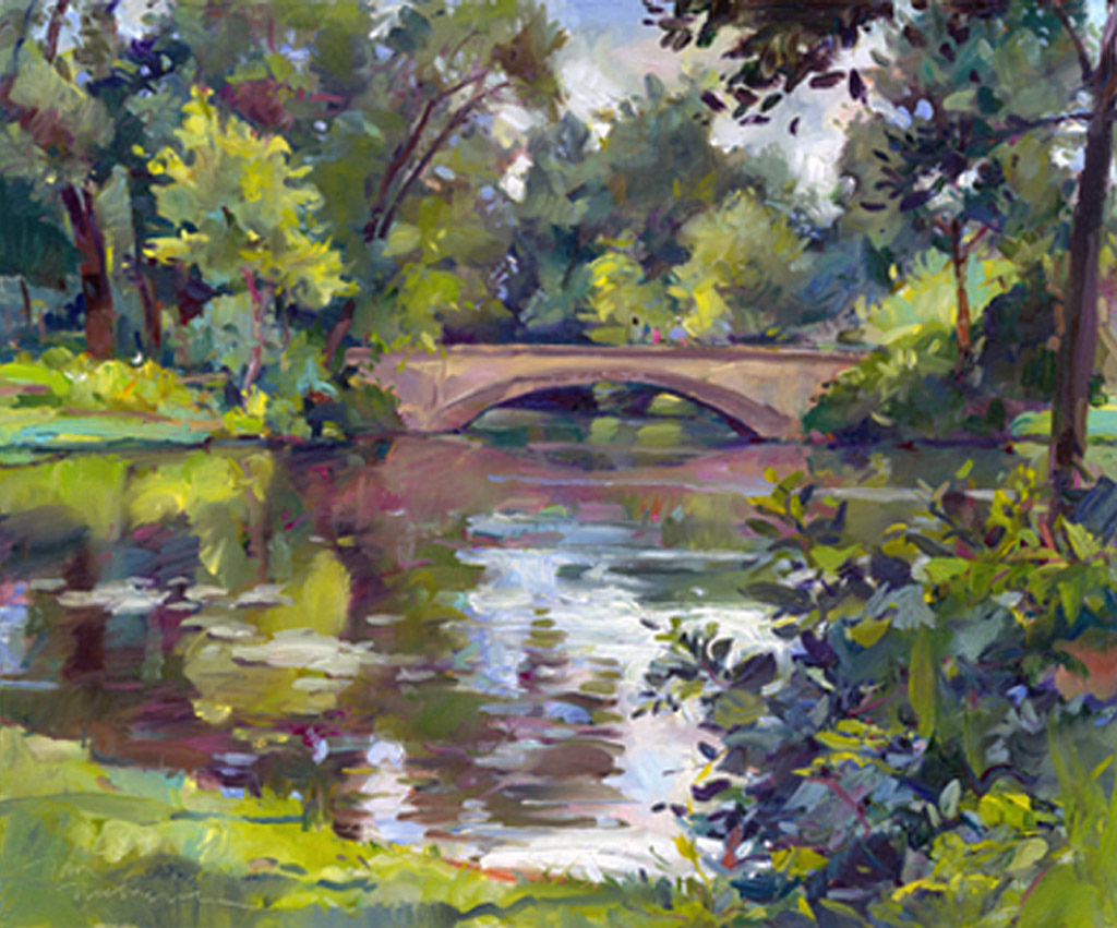 Tenny Park Bridge, Painting by Tom Nachreiner