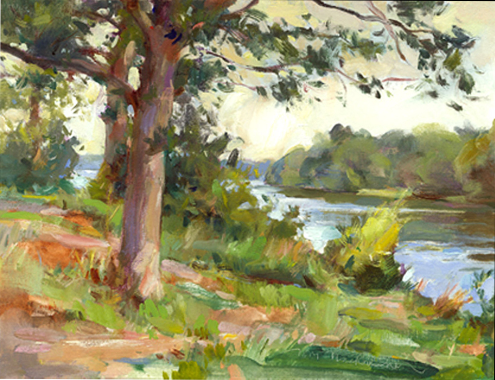 Through River Trees, Painting by Tom Nachreiner